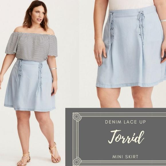e8d240820b1 Torrid Denim Lace up Mini Skirt 10